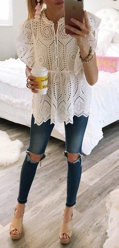 trendy outfit idea / white lace blouse + ripped jeans + nude heels