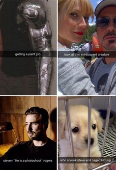 Avengers Snapchats. Unsure which is the extravagant creature in the Tony/Pepper shot. Probably both.