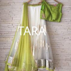 beautiful lehenga ensemble in pastels, via Green Lehenga, Indian Lehenga, Lehenga Choli, Anarkali, Sarees, Sabyasachi, Half Saree Designs, Lehenga Designs, Blouse Designs