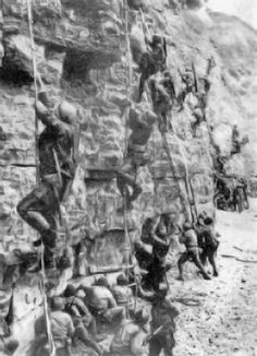 "Rudder's Rangers"" scale Pointe du Hoc's cliffs on D-Day, June ..."