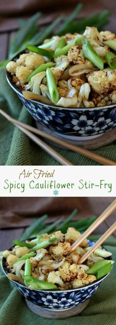 Air Fried Spicy Cauliflower Stir-Fry is fast and simple. It is so gratifying to have a new side dish for your family to enjoy. Delicious flavors get you lots of compliments. ~ https://veganinthefreezer.com