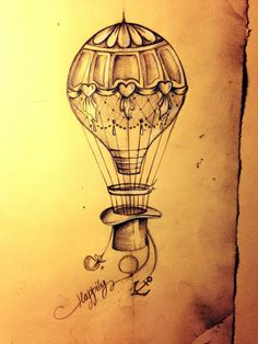 Hot air balloon tattoo sketch just married