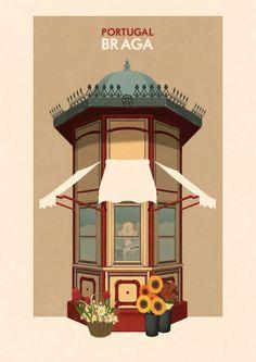 PORTUGAL - Braga by Rui Ricardo. His posters are vintage inspired and showcase some of Portugal's icons-vintage Lisboa tram, narrow buildings of Porto and Arco da porta nova in BRAGA Retro Poster, Poster S, Vintage Travel Posters, Braga Portugal, Travel Illustration, Portugal Travel, Cool Posters, Vintage Advertisements, Illustrations Posters