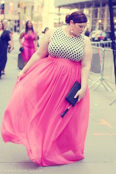 Danimezza Plus Size Blogger Outfit Youtheary Khmer pink chiffon skirt asos curve polka dot dress bling indie runway show FFFWeek 2013