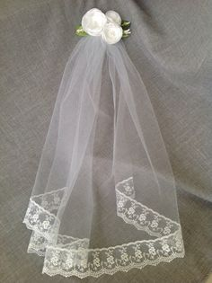Three handmade roses with pearl centers accented with leaves and buds. Veil is about long. First Communion Veils, Girls Communion Dresses, First Communion Party, Communion Gifts, First Holy Communion, Communion Hairstyles, Bride Accessories, Eucharist, Handmade