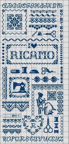cross stitch - Ricamo Sampler - sewing notions and such Cross Stitch Borders, Cross Stitch Alphabet, Cross Stitch Samplers, Cross Stitch Charts, Cross Stitch Designs, Cross Stitching, Cross Stitch Patterns, Blackwork Embroidery, Embroidery Sampler