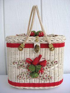Straw Wicker Purse Midas of Miami Red Velvet Strawberry Handbag Vintage Basket   eBay