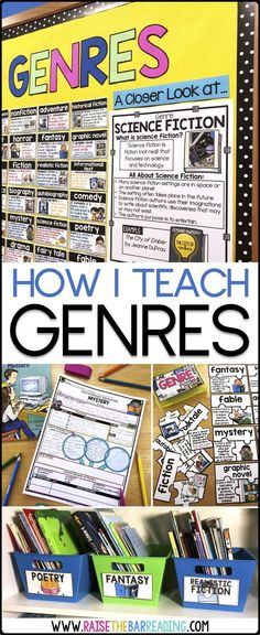 This teaching blog post describes how to teach genres in an elementary classroom. It is helpful for a reading teacher or classroom teacher in teaching the elements of genres such as nonfiction, fiction, mystery, fantasy, fables, informational text, and more. It includes genre activities, genre anchor charts, genre posters, genre classroom library labels, genre graphic organizers, independent reading ideas, genre reading centers for guided reading, and more!