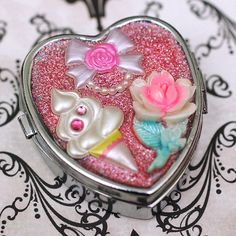 Fancy  Small Pill Container by stoopidgerl on Etsy (Accessories, pill container, shabby chic, vintage, rose, flower, ice cream, bow, silver, pink, glitter, rhinestone, heart, love)