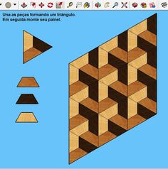 Collection of 1600 Woodworking Plans - Parte 2 de tutorial de marchetaria geométrica Get A Lifetime Of Project Ideas and Inspiration! Floor Patterns, Quilt Patterns, Patchwork Quilting, Wood Cutting Boards, Wood Design, Modern Design, Wood Turning, Wood Wall Art, Wood Crafts