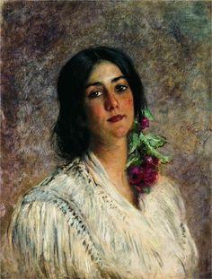Female Portrait, 1880  Konstantin Makovsky