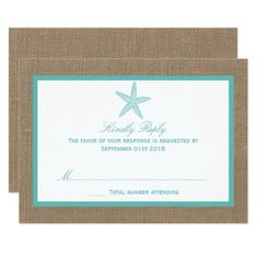 #Valentines #AdoreWe #Zazzle - #Zazzle Turquoise Starfish Burlap Beach Wedding Collection Card - AdoreWe.com