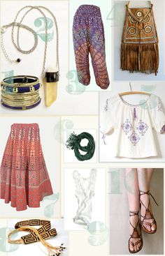 """10 Essentials for Boho Wardrobe. -- Bangles. (Earthy) Necklace. Printed Harem Pants (or not printed?). Fringed (Leather) Bag (why always fringe?!). Peasant Top. Fringed Scarf (again with the fringe!). """"Indian"""" Wrap Skirt (quotation marks added). Woven Belt. Lace Tank. Lace-up Sandals (who needs those when one has Birks?). -- from TheJungalow.com"""