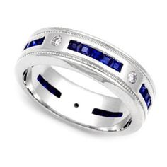 14K Black Gold 100 ctw Blue Sapphire 3 Stone Mans Wedding Band