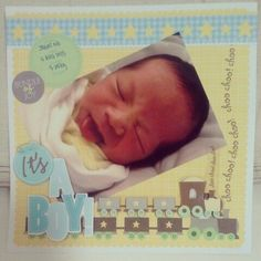 8 x 8 baby scrapbook pages | layout for baby boy | Scrapbooking | Pinterest