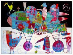 Elke Trittel acrylic,collage on wood 60x80cm