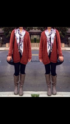 Fall outfit: scarf: leggings: cardigan: boots