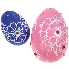 Nämä munat on maalattu Plus Color -maalein ja koristeltu ääriviivatarroilla ja akryylitimanteilla. Ideat ja tarvikkeet Sinellistä!
