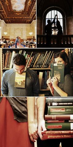 book lovers engagement photo shoot!-Will have to remember if I ever decide to get married.