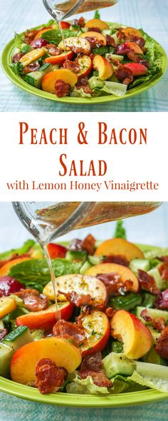 Honey Lemon Vinaigrette on Peach Bacon Salad - a taste of summer! Honey Lemon Vinaigrette on Peach Bacon Salad - a vinaigrette recipe that goes particularly well with salads containing summer fruits and berries like peaches and plums or strawberries Healthy Salads, Healthy Eating, Healthy Recipes, Bariatric Recipes, Meal Salads, Vegetarian Recipes, Healthy Food, Paleo, Bacon Salad