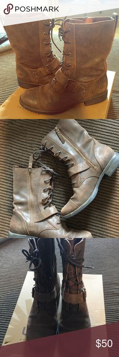 UGG Combat boots Brown suede, lace-up combat boots with the comfort of an UGG shoe. Only worn 2-3 times. In perfect condition! UGG Shoes Combat & Moto Boots