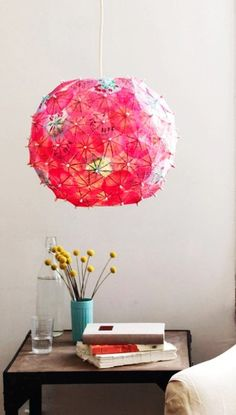 DIY flowers and beaded paper lamp shade crafts - handmade lamp, home decor - LoveItSoMuch.com