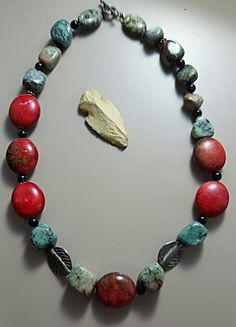 African Turquoise & Red Jasper Necklace by MidMoonLadyDesigns