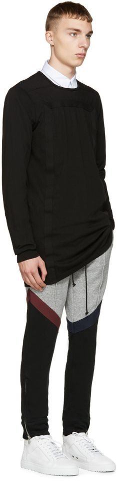 Pyer Moss Grey Colorblocked Rugby Lounge Pants