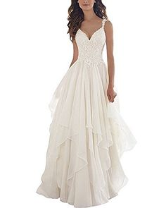 Kevins Bridal Lace V Neck Wedding Dress Illusion Chiffon Beach Wedding Gown  Straps Ivory Size 4