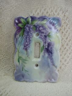 Purple Wisteria hand painted on a Porcelain by RosebudStudiosChina, $18.00