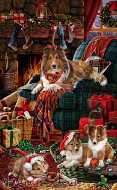 "Shetland Sheepdog - ""Good Tidings & Cheer"" by Margaret Sweeney; [holiday greeting cards]"