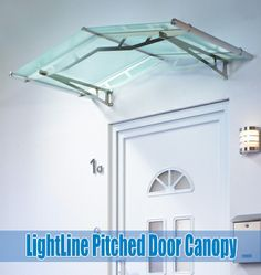 More Details: Stainless Steel Or White Pitched Door Canopies With Clear,  Frosted White,