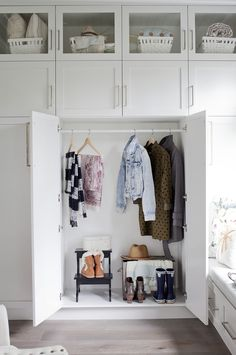 Mudroom Closet from Love it or List it Vancouver on HGTV Canada. Cabinet Hardware by Schaub and Company