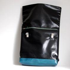 Rucksack aus LKW-Plane und Leder von krambeutel Deine Wunschtasche, maßgeschneiderte Beutel und Taschen aus München