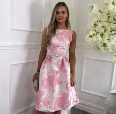 Arabella Pink Jacquard Open Back Prom Dress Open Back Prom Dresses, Dresses To Wear To A Wedding, Midi Flare Skirt, Knee Length Dresses, Chic Outfits, Fit And Flare, Luxury Fashion, Glamour, Summer Dresses