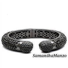 Huge Pave Set Black Ice Cz Cubic Zirconia Silver Bangle Stack Cuff Bracelet 7.5