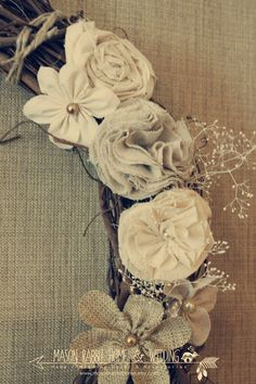 """Rustic Wreath - Gorgeous 18"""" Wedding Wreath / Rustic Wedding / Vintage Wedding / Country Wedding / or Home - Fabric Flower and Pearl Details. $55.00, via Etsy."""