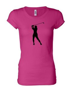 Women's slim-fit pink golf t-shirt by Chick9Clothing