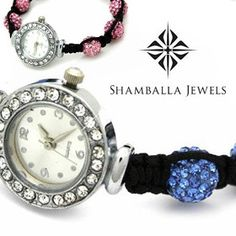 Sparkling Shamballa Bracelet Watch with Braided Cord - Assorted Colors