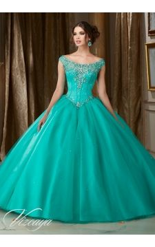 Quinceanera Dress 89108 Jeweled Beaded Satin Bodice on a Tulle Ball Gown