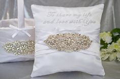 To Share My Life and Love With You Jeweled Ring Pillow & Flower Basket Set by SewDelightfulPillows