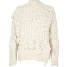 River Island Cream mixed stitch fringe cable knit sweater (290 PEN) ❤ liked  on 752c4cf68