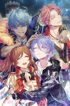 Wizardess Heart+ group photo with Zeus, Caesar, Lucious and Liz! Handsome Anime Guys, Cute Anime Guys, Anime Oc, Manga Anime, Anime Reccomendations, Anime Group, Shall We Date, Anime Couples Manga, Anime Dolls