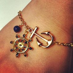 Nautical Inspired Navy and Gold Captain's Wheel and Anchor Charm Bracelet by CeruleanLife, $9.00