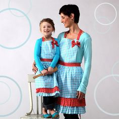 Turquoise Gingham with Red Aprons