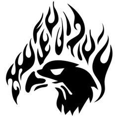 Wholesale 10pcs/lot 20pcs/lot 13.8*14.6CM Tribal Eagle Fire Flame Personalized Vinyl Car Stickers Car Body Decal Black/Silver