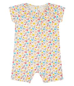 Sense Organics & friends in cooperation with GARY MASH - Colorful baby short overall with birds Steiff Baby, Baby T Shirts, Baby Massage, Organic Cotton, Overalls, Rompers, Material, Birds, Colorful
