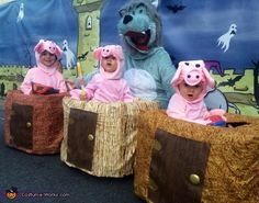The Three little Pigs and the Big Bad Wolf - 2014 Halloween Costume Contest Big Bad Wolf Costume, Toddler Costumes, Pig Costumes, Cool Costumes, Craft Kids, Crafts For Kids, Wolf Halloween Costume, Stars Play, Fairy Tail