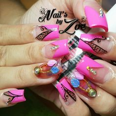 Dream catcher with hot pink #nail_by_zoe