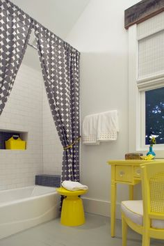 vintage yellow desk + subway + dwell studio shower curtains
